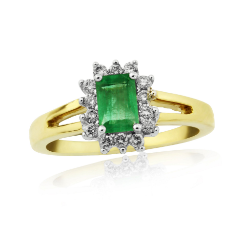 Emerald And Diamond 9 Carat Yellow Gold Half Eternity Ring DER736